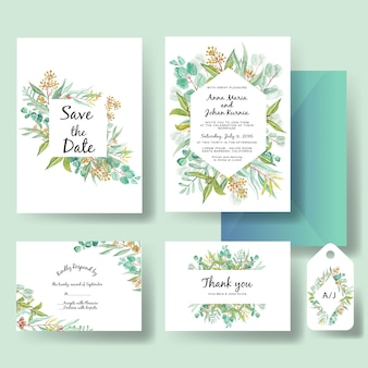 Hochzeitseinladungsschablone des grünen eukalyptus verlässt aquarell