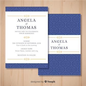 Hochzeitseinladungsschablone gedruckt