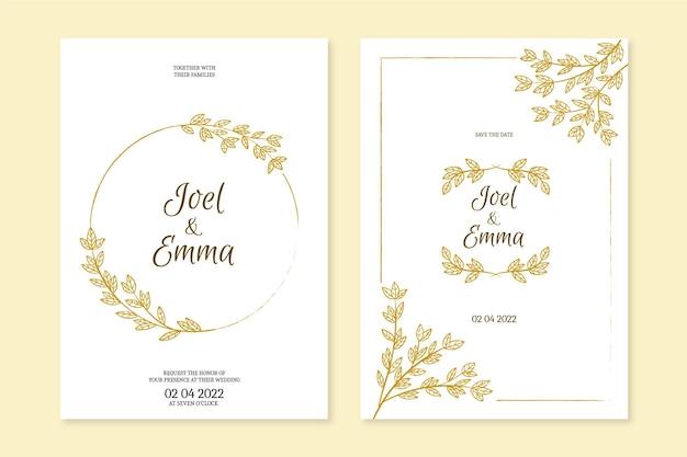 Hochzeitseinladungsschablone handgezeichnet