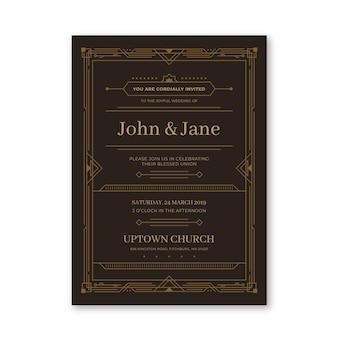 Hochzeitseinladungsschablone im flachen design