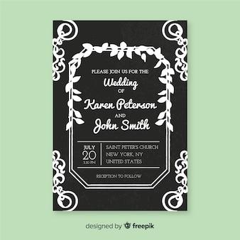 Hochzeitseinladungsschablone in der weinleseart