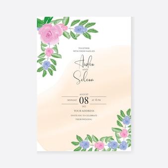 Hochzeitseinladungsschablone mit aquarell blumen premium-vektor