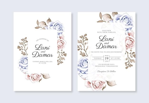 Hochzeitseinladungsschablone mit aquarellblumen und -blättern