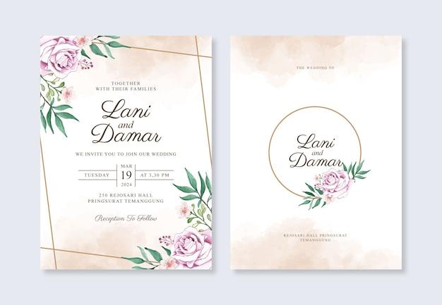 Hochzeitseinladungsschablone mit aquarellblumen- und -spritzer