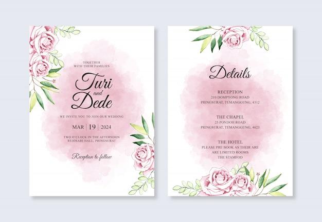 Hochzeitseinladungsschablone mit aquarellblumen und -spritzern