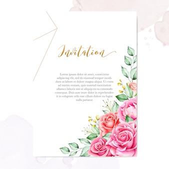 Hochzeitseinladungsschablone mit aquarellblumenblättern