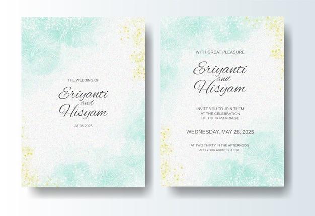 Hochzeitseinladungsschablone mit aquarellhintergrund und spritzen