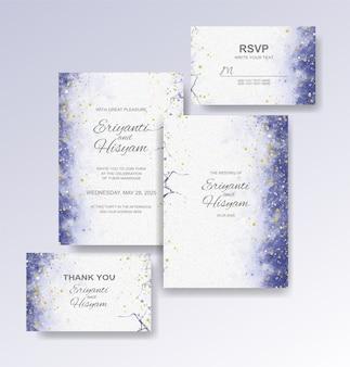 Hochzeitseinladungsschablone mit aquarellhintergrund