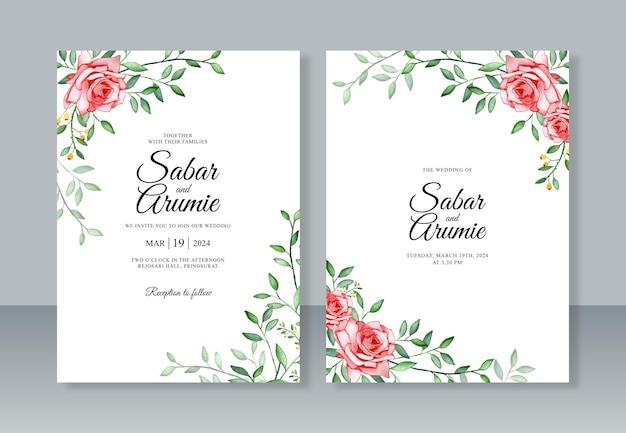 Hochzeitseinladungsschablone mit aquarellmalerei von rosen