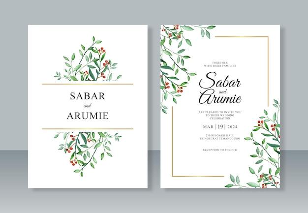 Hochzeitseinladungsschablone mit aquarellmalereilaub