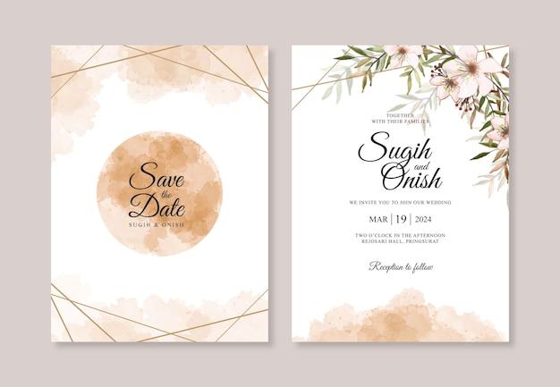 Hochzeitseinladungsschablone mit aquarellspritzer und blumen