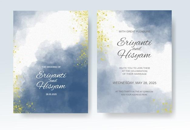 Hochzeitseinladungsschablone mit aquarellspritzer