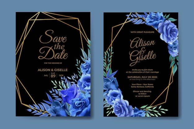 Hochzeitseinladungsschablone mit blauem rosenblumensatz