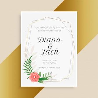 Hochzeitseinladungsschablone mit blume und blättern