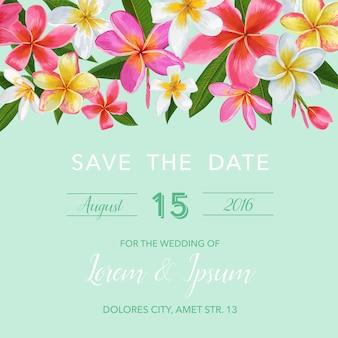 Hochzeitseinladungsschablone mit blumen. tropische karte
