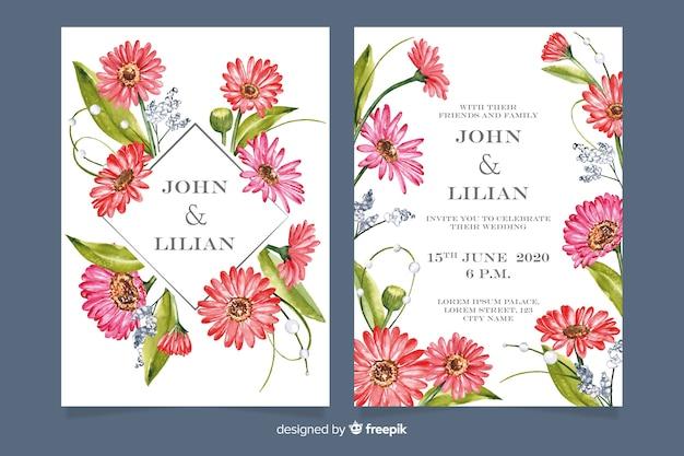 Hochzeitseinladungsschablone mit blumen