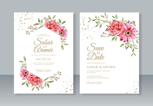 Hochzeitseinladungsschablone mit blumenaquarellmalerei