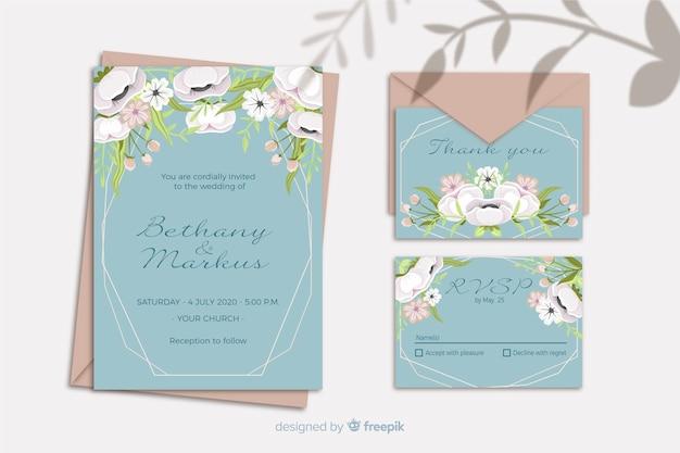 Hochzeitseinladungsschablone mit blumenrahmen