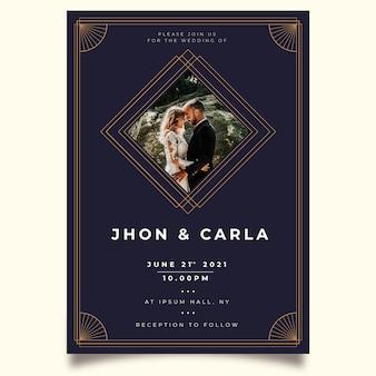 Hochzeitseinladungsschablone mit bräutigam und braut