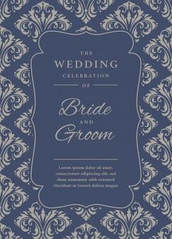 Hochzeitseinladungsschablone mit damastmuster
