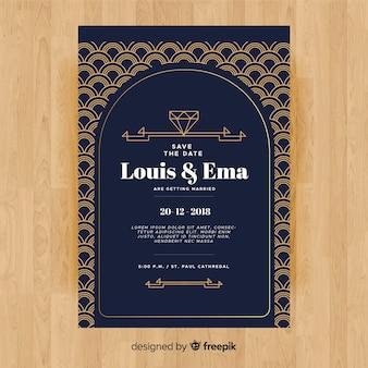 Hochzeitseinladungsschablone mit dekorativem art deco design