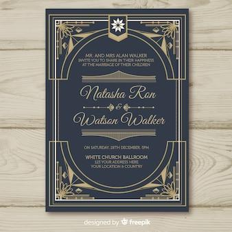 Hochzeitseinladungsschablone mit dekorativem art deco-konzept