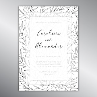 Hochzeitseinladungsschablone mit einem botanischen muster