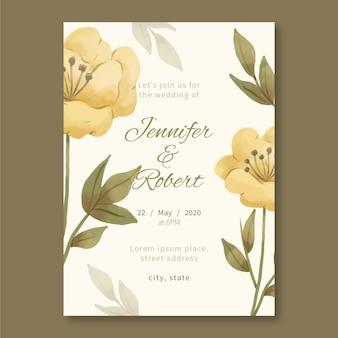 Hochzeitseinladungsschablone mit einer großen blume