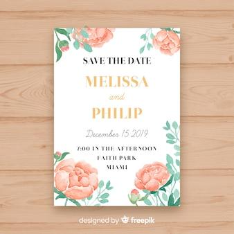Hochzeitseinladungsschablone mit einigen pfingstrosenblumen