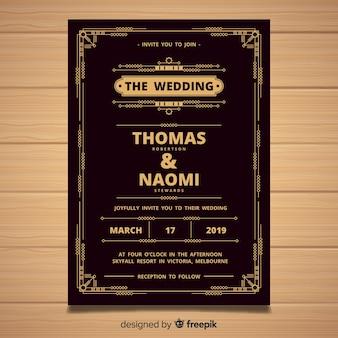 Hochzeitseinladungsschablone mit elegantem art decodesign