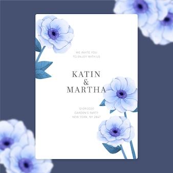 Hochzeitseinladungsschablone mit eleganten blumen