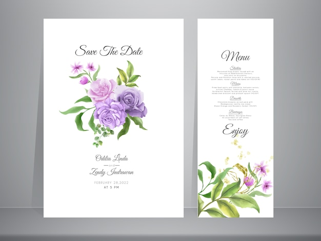 Hochzeitseinladungsschablone mit eleganten handgezeichneten rosen