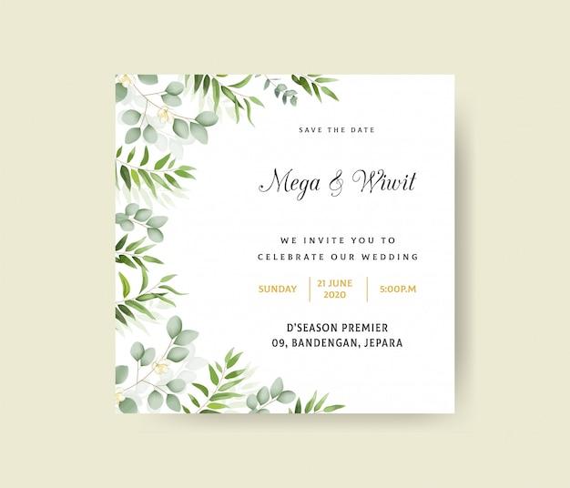 Hochzeitseinladungsschablone mit eukalyptus