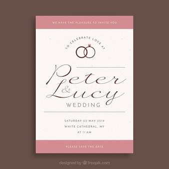 Hochzeitseinladungsschablone mit flachem design