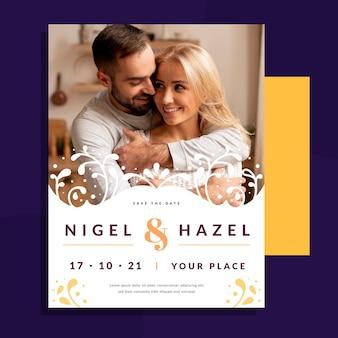 Hochzeitseinladungsschablone mit foto des paares