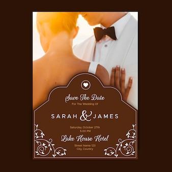 Hochzeitseinladungsschablone mit foto