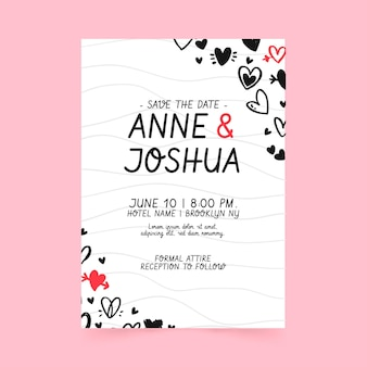 Hochzeitseinladungsschablone mit gekritzelten herzen