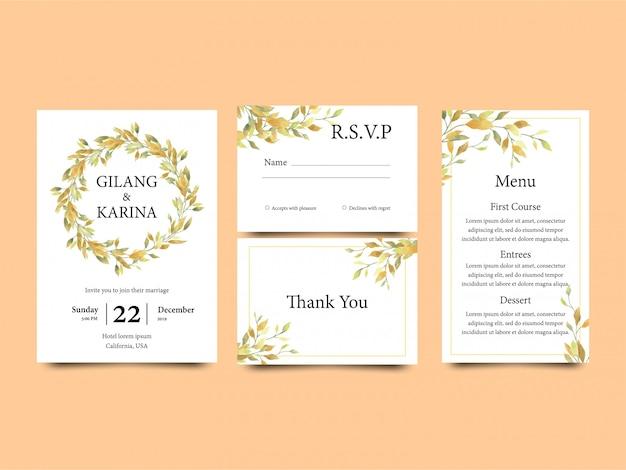 Hochzeitseinladungsschablone mit gelbem aquarellartblatt zusammen mit einer menüschablone und einer uawg-karte