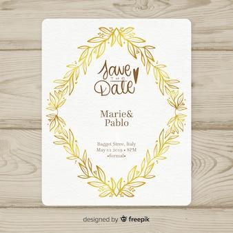 Hochzeitseinladungsschablone mit goldenem blattrahmen