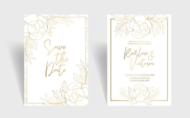 Hochzeitseinladungsschablone mit goldenen dekorativen blumen und blättern