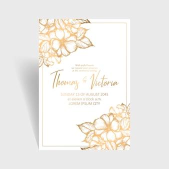 Hochzeitseinladungsschablone mit goldenen dekorativen elementen
