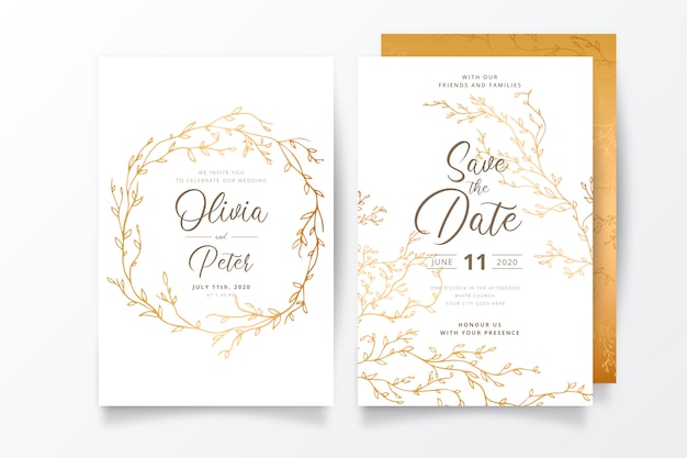 Hochzeitseinladungsschablone mit goldenen zweigen