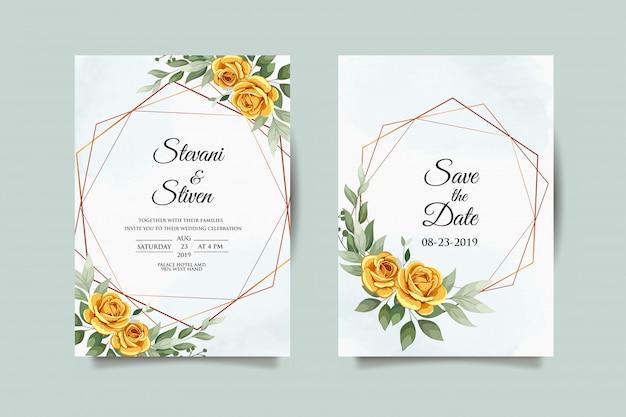 Hochzeitseinladungsschablone mit goldener blume