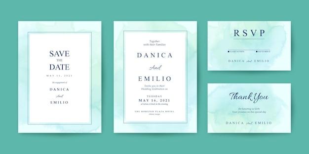 Hochzeitseinladungsschablone mit grünem aquarellhintergrund