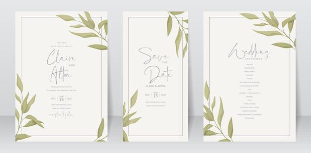 Hochzeitseinladungsschablone mit grünem blattdesign Premium Vektoren