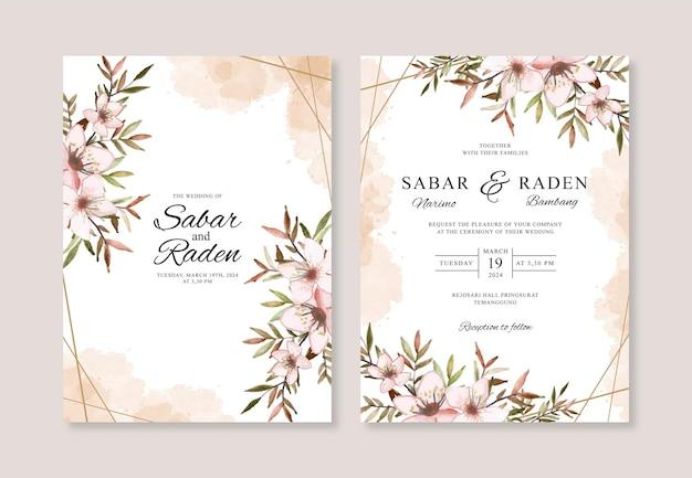 Hochzeitseinladungsschablone mit hand gezeichnetem aquarellblumen