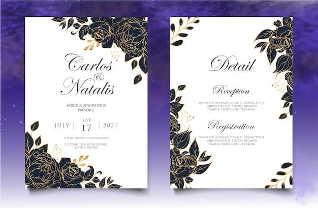 Hochzeitseinladungsschablone mit hand gezeichneter blumendekoration Premium Vektoren