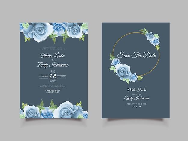 Hochzeitseinladungsschablone mit handgezeichneten blauen rosen