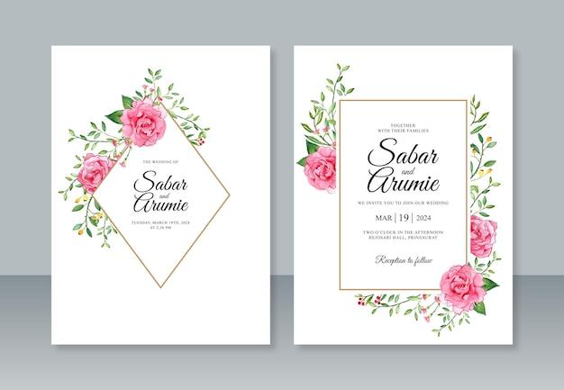 Hochzeitseinladungsschablone mit handmalerei blumenaquarell
