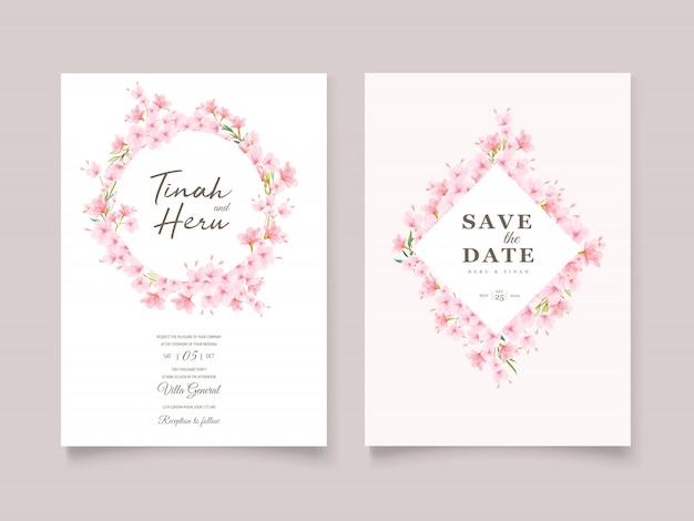 Hochzeitseinladungsschablone mit kirschblütenkranz